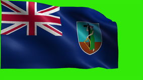 Flag of Montserrat, Territory of the United Kingdom - LOOP. Beautiful 3d flag animation on green/blue screen in 4k format - seamless looped stock footage