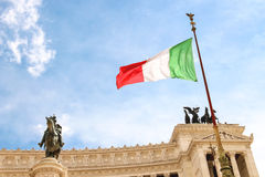 Flag at the monument  to Victor Emmanuel II. Rome, Italy Royalty Free Stock Images