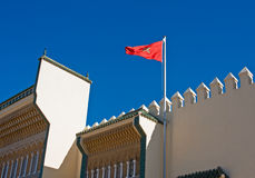 Flag of Morocco. On the Royal Palace at Fez Royalty Free Stock Photos