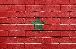 Flag of Morocco on brick wall Stock Image