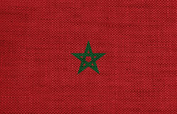 Flag of Morocco on old linen stock photos