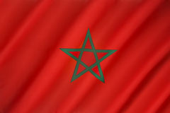 Flag of Morocco. The flag of Morocco - Red has considerable historic significance in Morocco, proclaiming the descent of the royal Alaouite family from the Stock Photo