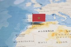 The Flag of morocco in the world map.  royalty free stock photos