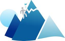 Flag on mountain Royalty Free Stock Image