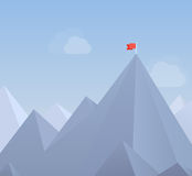 Flag on a mountain peak flat illustration. Flat design modern  illustration concept with copy space of flag on the mountain peak, meaning overcoming difficulties Royalty Free Stock Images