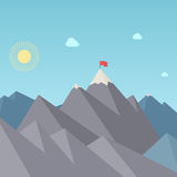 Flag On The Mountain Peak. Goal Achievement Royalty Free Stock Photo