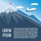 Flag on mountain peak, success or business concept illustration. Royalty Free Stock Photo