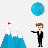 Flag on mountain. Success and goal achievement business concept Stock Image