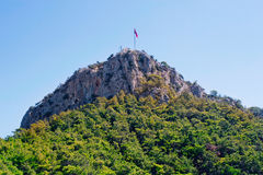 Flag on the mountain Royalty Free Stock Images