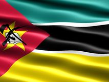 Flag of Mozambique. Computer generated illustration with silky appearance and waves Stock Illustration