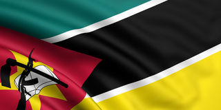 Flag Of Mozambique. 3d rendered and waving flag of mozambique Stock Photos