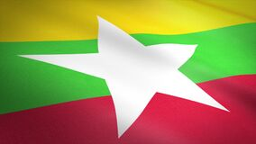 Flag of Myanmar. Burma. Waving flag with highly detailed fabric texture seamless loopable video. Seamless loop with