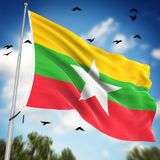 Flag of Myanmar. This is a computer generated and 3d rendered image Royalty Free Stock Image