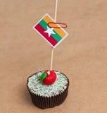 Flag of a Myanmar on cupcake Stock Photos