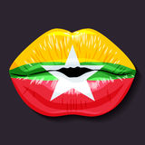 Flag of Myanmar. Foreign language school concept. Lips, open mouth, flag of Myanmar Republic of the Union of Myanmar. Sovereign states in Asia recognized Stock Photos