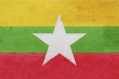 Flag of Myanmar Grunge. Stock Photos