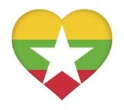 Flag of Myanmar Heart. Stock Photography