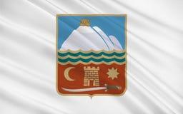 Flag of Nakhchivan, Azerbaijan. Flag of Nakhchivan is the capital of the eponymous Nakhchivan Autonomous Republic of Azerbaijan. 3D illustration stock illustration