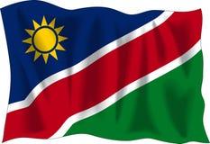 Flag of Namibia. Waving flag of Namibia isolated on white background Stock Photos