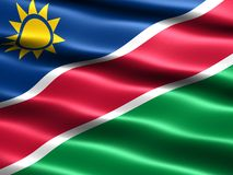 Flag of Namibia. Computer generated illustration of the flag of Namibia with silky appearance and waves Royalty Free Stock Photo