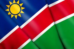 Flag of Namibia. This is an illustration of folded flag Royalty Free Stock Photography