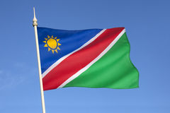 Flag of Namibia - Africa. The flag of Namibia was adopted on March 21, 1990 upon independence from South Africa Stock Photo