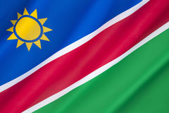 Flag of Namibia. The  was adopted on 21st March 1990 following independence from South Africa Royalty Free Stock Photos