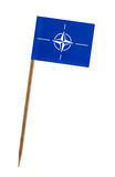 Flag of Nato. Tooth pick wit a small paper flag of Nato stock photos