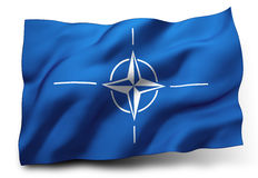 Flag of NATO. Waving flag of NATO isolated on white background Stock Photo