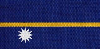 Flag of Nauru on old linen Stock Image