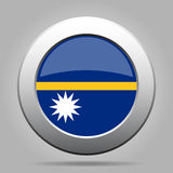 Flag of Nauru. Shiny metal gray round button. Royalty Free Stock Images