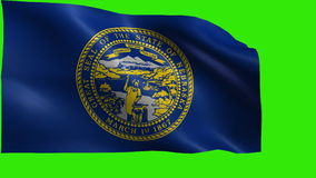 Flag of Nebraska, NE, Lincoln, Omaha, March 1 1867, State of The United States of America, USA state - LOOP. Beautiful 3d flag animation on green/blue screen in stock footage