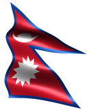 Flag of Nepal. Computer generated illustration with silky appearance and waves, with clipping path Royalty Free Stock Photo