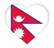 Flag of  Nepal Heart. Stock Photos