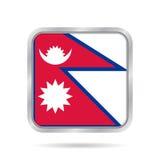 Flag of Nepal. Shiny metallic gray square button. stock illustration