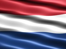 Flag of the Netherlands. With silky appearance and waves Royalty Free Stock Photo