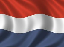 Flag of the Netherlands. Waving in the wind Stock Images