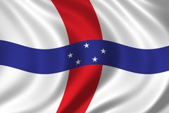 Flag of The Netherlands Antilles. Waving in the wind Stock Image