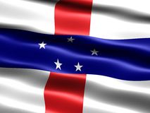 Flag of the Netherlands Antilles. Computer generated illustration with silky appearance and waves Royalty Free Stock Image