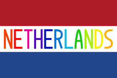 Flag of Netherlands and colorful word Netherlands Stock Photography