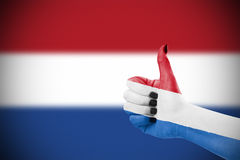 Flag of Netherlands. On female's hand Royalty Free Stock Photos