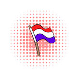 Flag of the Netherlands icon, comics style Royalty Free Stock Photos