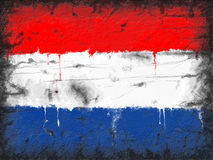 Flag of Netherlands painted on old wall Royalty Free Stock Images