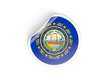 Flag of new hampshire, US state round sticker Royalty Free Stock Photos