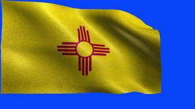 Flag of New Mexico, NM, Santa Fe, Albuquerque, January 6 1912, State of The United States of America, USA state - LOOP. Beautiful 3d flag animation on green/ stock video footage