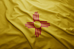 Flag of New Mexico state. Waving colorful New Mexico state flag stock photography