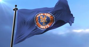 Flag of the New York Mets, american professional baseball team - loop. Flag of the team of the New York Mets, american professional baseball team, waving at wind stock video footage