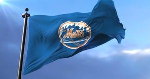 Flag of the New York Mets, american professional baseball team, waving - loop. Flag of the team of the New York Mets, american professional baseball team, waving stock video footage