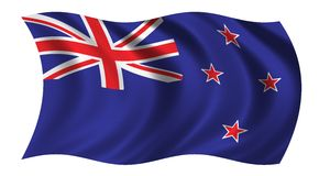 Flag of New Zealand. Waving in the wind Royalty Free Stock Photos