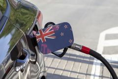 Flag of New Zealand on the car`s fuel filler flap. royalty free stock photo